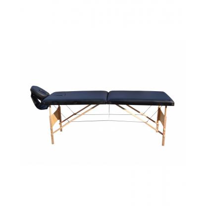 Pat masaj albastru cu doua sectiuni structura din lemn