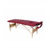 Pat masaj burgundi cu 2 sectiuni si structura din lemn