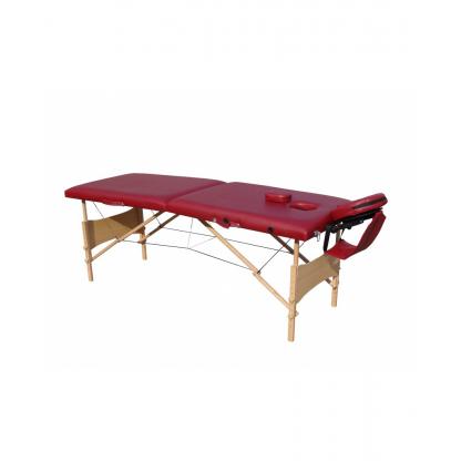 Pat masaj burgundi cu doua sectiuni structura din lemn