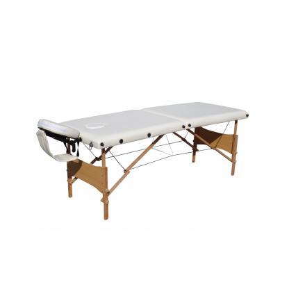 Pat masaj alb cu doua sectiuni structura din lemn