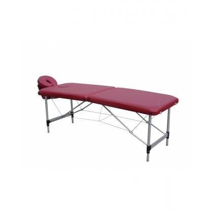Pat masaj burgundi cu 2 sectiuni cu structura din aluminiu
