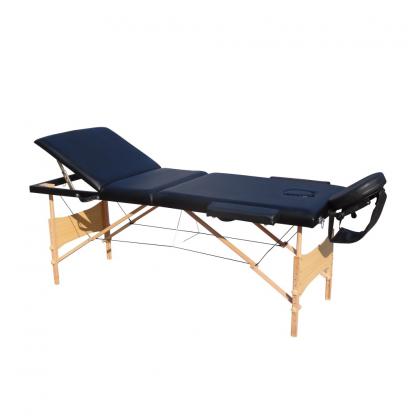 Pat masaj albastru cu 3 sectiuni cu structura din lemn