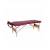 Pat masaj burgundi cu 3 sectiuni cu structura din lemn