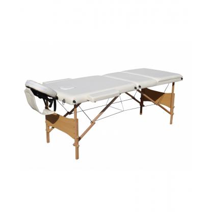 Pat masaj alb cu 3 sectiuni cu structura din lemn