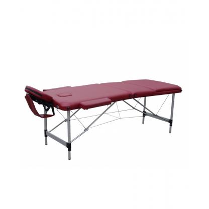 Pat masaj burgundi cu 3 sectiuni cu structura din aluminiu