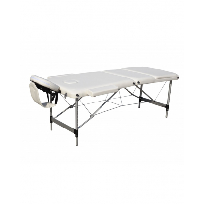 Pat masaj alb cu 3 sectiuni cu structura din aluminiu