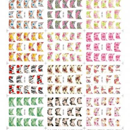 Abtibilduri unghii 12 in 1 cu flori pentru french