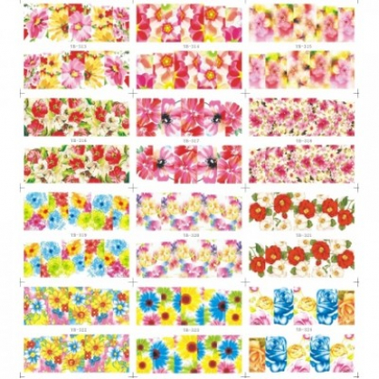 Abtibilduri unghii 12 in 1 cu flori pe toata unghia