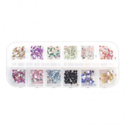 Strasuri cutie pentru unghii - set 12 pcs