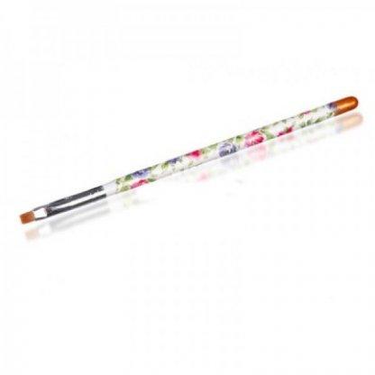 Pensula gel unghii nr 4 cu tub, motiv floral