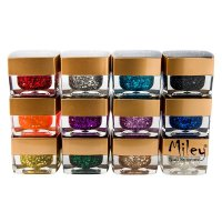 Gel Uv Color cu Sclipici Miley - set 12 bucati