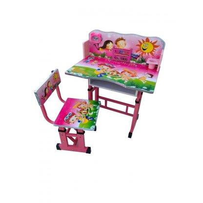 Birou mare cu scaun pentru copii, reglabile, cadru metalic si lemn, roz/pink
