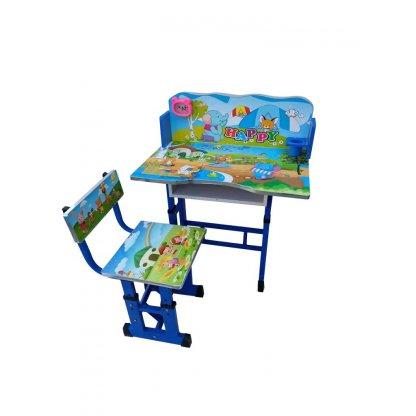 Birou mare cu scaun pentru copii, reglabile, cadru metalic si lemn, Albastrau