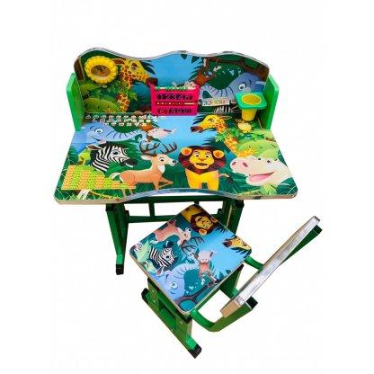 Birou cu scaun pentru copii, reglabile, cadru metalic si lemn, verde, Jungla B6