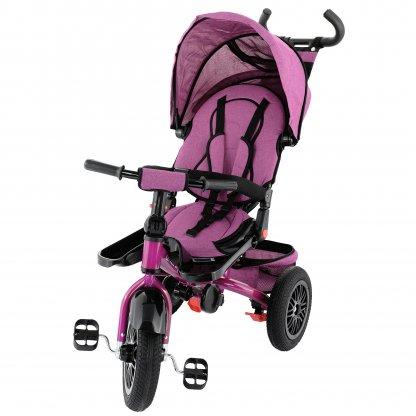 Tricicleta 4 in 1 rotativa cu pozitie de somn Little Bird pink/mov