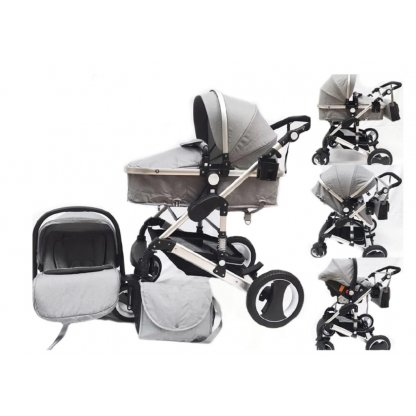 Carucior transport copii, Kota Baby Luna Travel 3 in 1 Gri