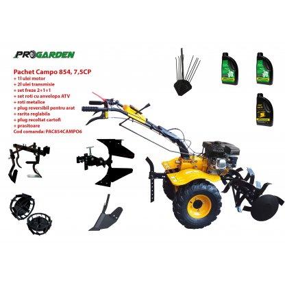Pachet motocultor Campo 854, benzina, 7.5CP, 2+1 trepte, roti atv, manicot rulment, accesorii PR2, ulei motor si transmisie incluse