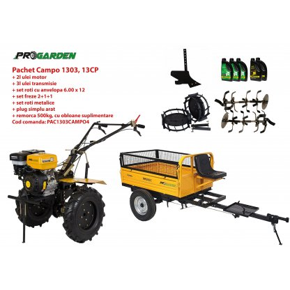 Pachet motocultor Campo 1303, benzina, 13CP, 2+1 trepte, remorca 500kg, accesorii, ulei motor si transmisie incluse