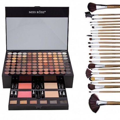 "Kit makeup ""Like a Princess"" trusa cu 190 farduri si set 12 pensule cu husa"