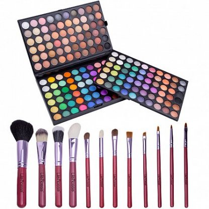 "Kit makeup ""I am Fabulous"" trusa cu 180 farduri si set 12 pensule cu husa"
