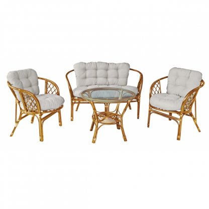 Set mobilier gradina, Bahama, ratan natural, honey/alb